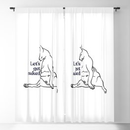 Let's Get Naked - Two Chubby Sphynx Cats - Line Art - Hairless Wrinkly Kitty- Black and White- Joke quote Blackout Curtain