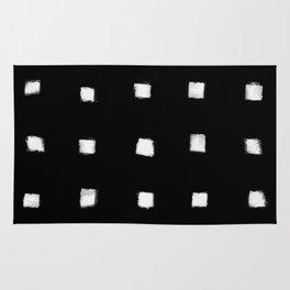 Polka Strokes Gapped - Off White on Black Rug