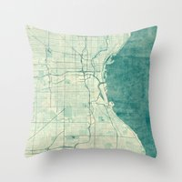 milwaukee Throw Pillows featuring Milwaukee Map Blue Vintage by City Art Posters