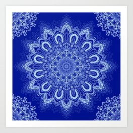 Blue Boho Mandala Flower Art Print