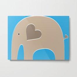 Blue Safari Elephant 2 Metal Print