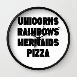 Unicorns Rainbows Mermaids Pizza Wall Clock