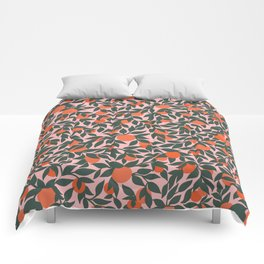Oranges and Leaves Pattern - Pink Comforters