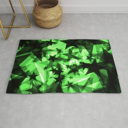 Dark green space stars with glow in the distance from the foil in perspective. Rug