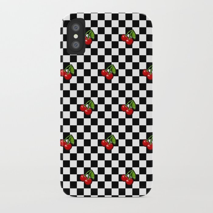 newest collection 1f352 a6114 Checkered Cherries iPhone Case by altizzy