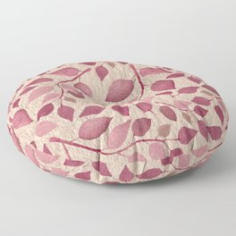 Berry Pink Leaves On Brushed Gold Floor Pillow