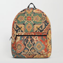 Geometric Leaves VIII // 18th Century Distressed Red Blue Green Colorful Ornate Accent Rug Pattern Backpack