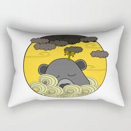 Lazy Grey Bear Island Floating Into The Storm Rectangular Pillow