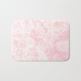 Vintage blush pink baby yellow roses flowers Bath Mat