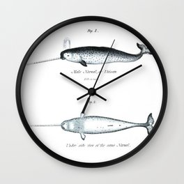 Vintage narwhal unicorn of the sea nautical whale antique beach house print Wall Clock