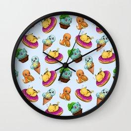 PokeSweets Pattern Blue Wall Clock