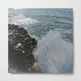 WAVES BREAK IN BIARRITZ Metal Print