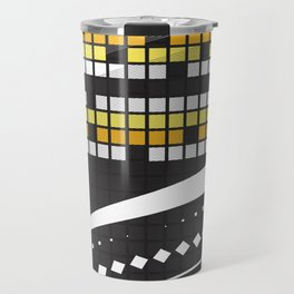 Abstract Crossword Puzzle Squares on Black Travel Mug