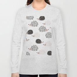 Hedgehog friends black and white spots Long Sleeve T-shirt
