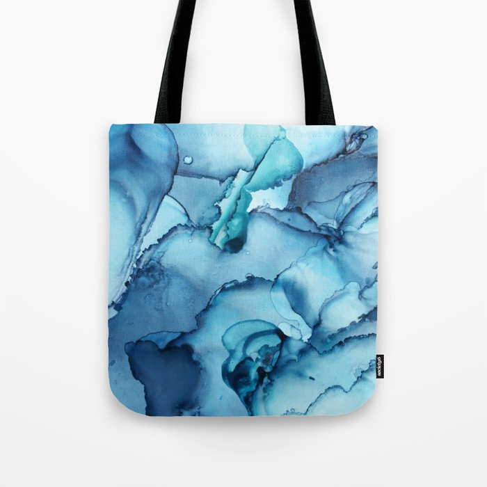 The Blue Abyss Alcohol Ink Painting Tote Bag