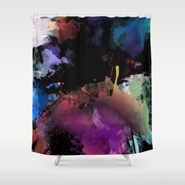Dark Abstract Watercolor Shower Curtain