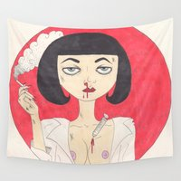 pulp fiction Wall Tapestries featuring Mia Wallace (Pulp Fiction)  by LoveCats