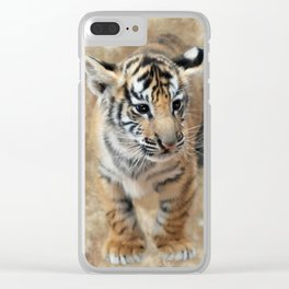 Tiger cub emerging Clear iPhone Case