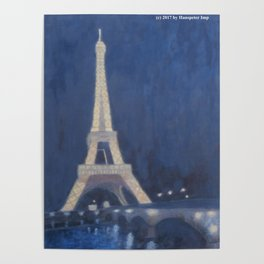 Paris Eiffel tower at night lights Poster