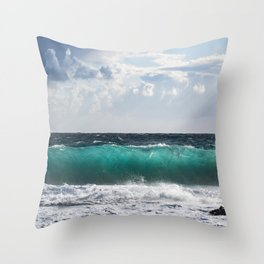Crystal Blue Ocean Waves Under a Blue Cloudy Sky  Throw Pillow