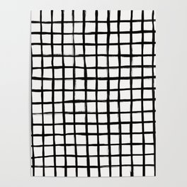 Strokes Grid - Black on Off White Poster