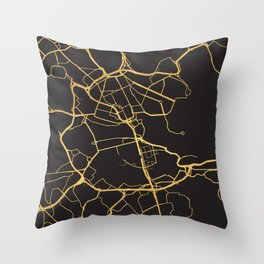 STOCKHOLM SWEDEN GOLD ON BLACK CITY MAP Throw Pillow
