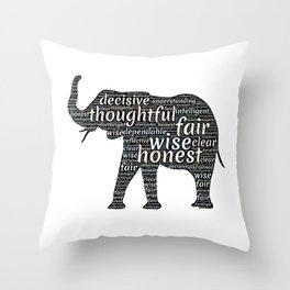 Elephant with words Throw Pillow
