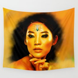 Green Eyed Beauty Wall Tapestry