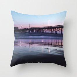 Sunset Beach Pier Throw Pillow