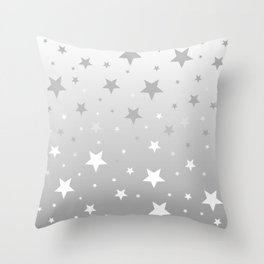 Scattered Stars Ombre Pale Silver Gray to White Throw Pillow