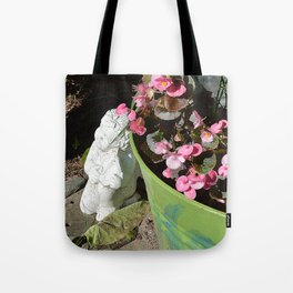Sun kissed Garden Angel and Begonias Tote Bag