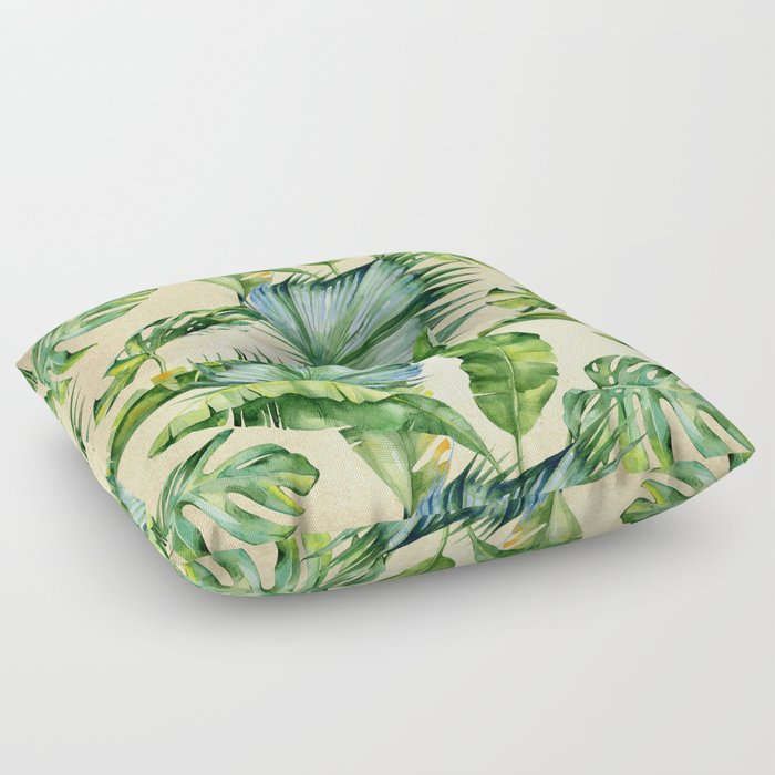 Green Tropics Leaves on Linen Floor Pillow