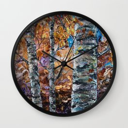 Birch Trees with Palette Knife by OLena Art for @society6 Wall Clock