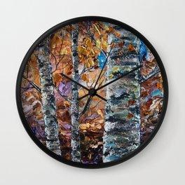 Birch Trees (palette knife) Wall Clock