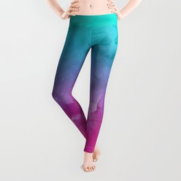 Modern bright summer turquoise pink watercolor ombre hand painted background Leggings