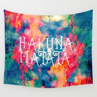 caleb troy Wall Tapestries featuring Hakuna Matata Painted Clouds by Caleb Troy
