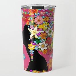 Hummingbird Kiss on Floral Girl  Travel Mug