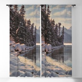 Winter Sunrise Lakeside in the Mountains by Ivan Fedorovich Choultsé Blackout Curtain