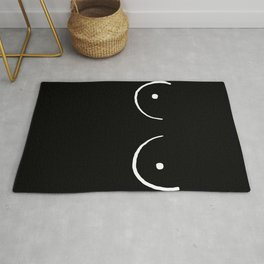 black and white boobs Rug