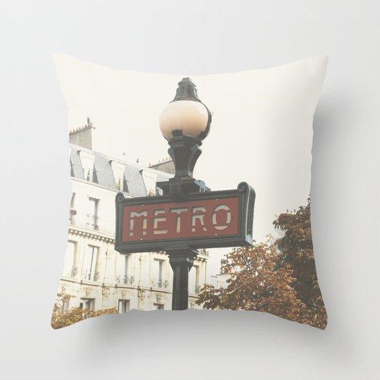 Metro - Paris Sign Photography Throw Pillow
