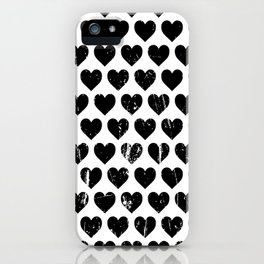 Hearts Pattern | Minimalism | Black-and-White | Modern | Love iPhone Case