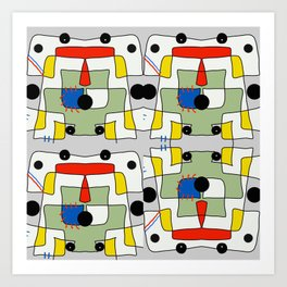 Black dots color block abstract Art Print