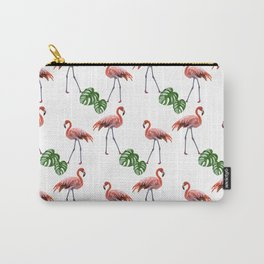 Flamingo & monstera pattern Carry-All Pouch
