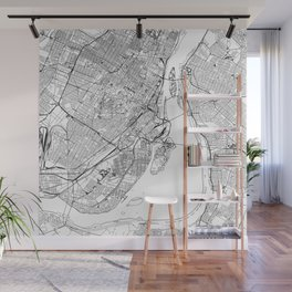 Montreal White Map Wall Mural