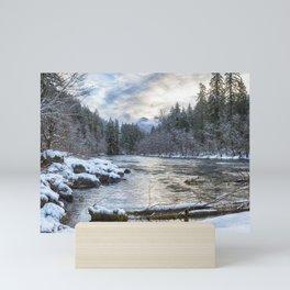 Morning on the McKenzie River Between Snowfalls Mini Art Print