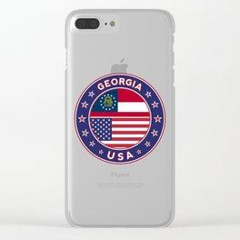 Georgia, Georgia t-shirt, Georgia sticker, circle, Georgia flag, white bg Clear iPhone Case