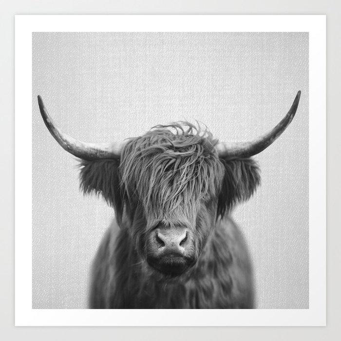 Highland Cow - Black & White Kunstdrucke