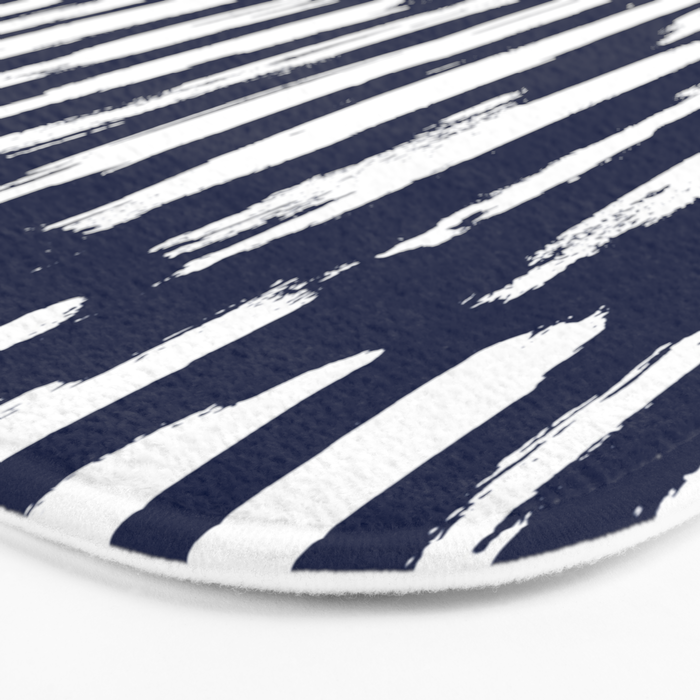 Vertical Dash White on Navy Blue Paint Stripes Bath Mat