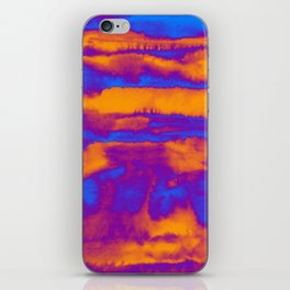 Abstract watercolor striped background in blue and orange colors iPhone Skin