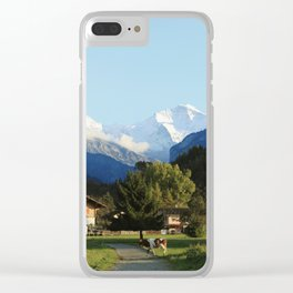 Swiss Cow Crossing Clear iPhone Case